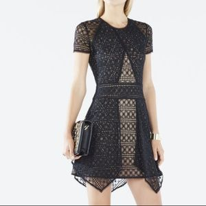 BCBGMaxazria Aileen Black Asymmetrical Lace Dress